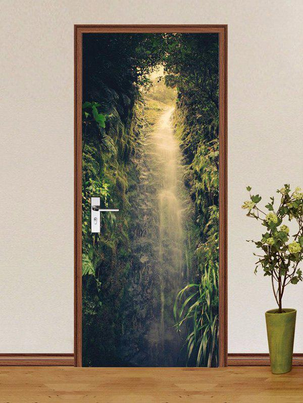 Buy Flowing Water Forest Print Removable Door Stickers