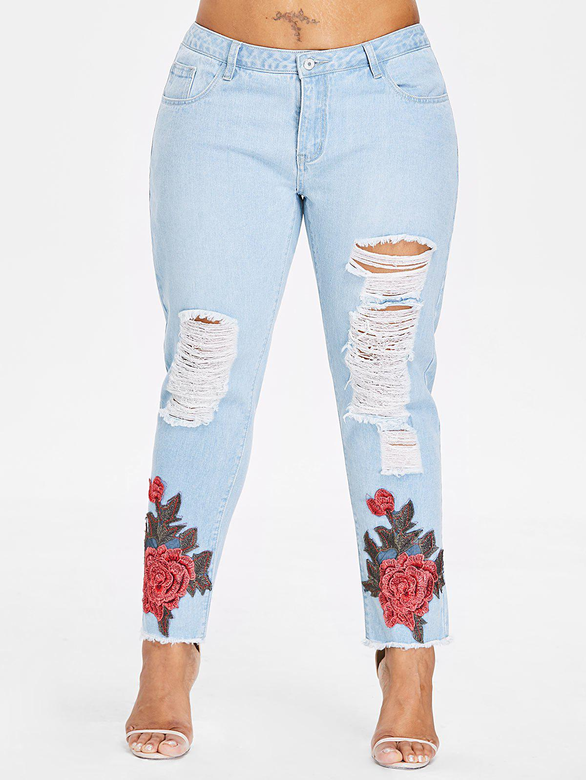 Fashion Plus Size Embroidery Shredding Straight Jeans