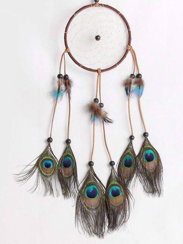 Chic Peacock Feathers Handmade Dream Catcher Wall Decoration