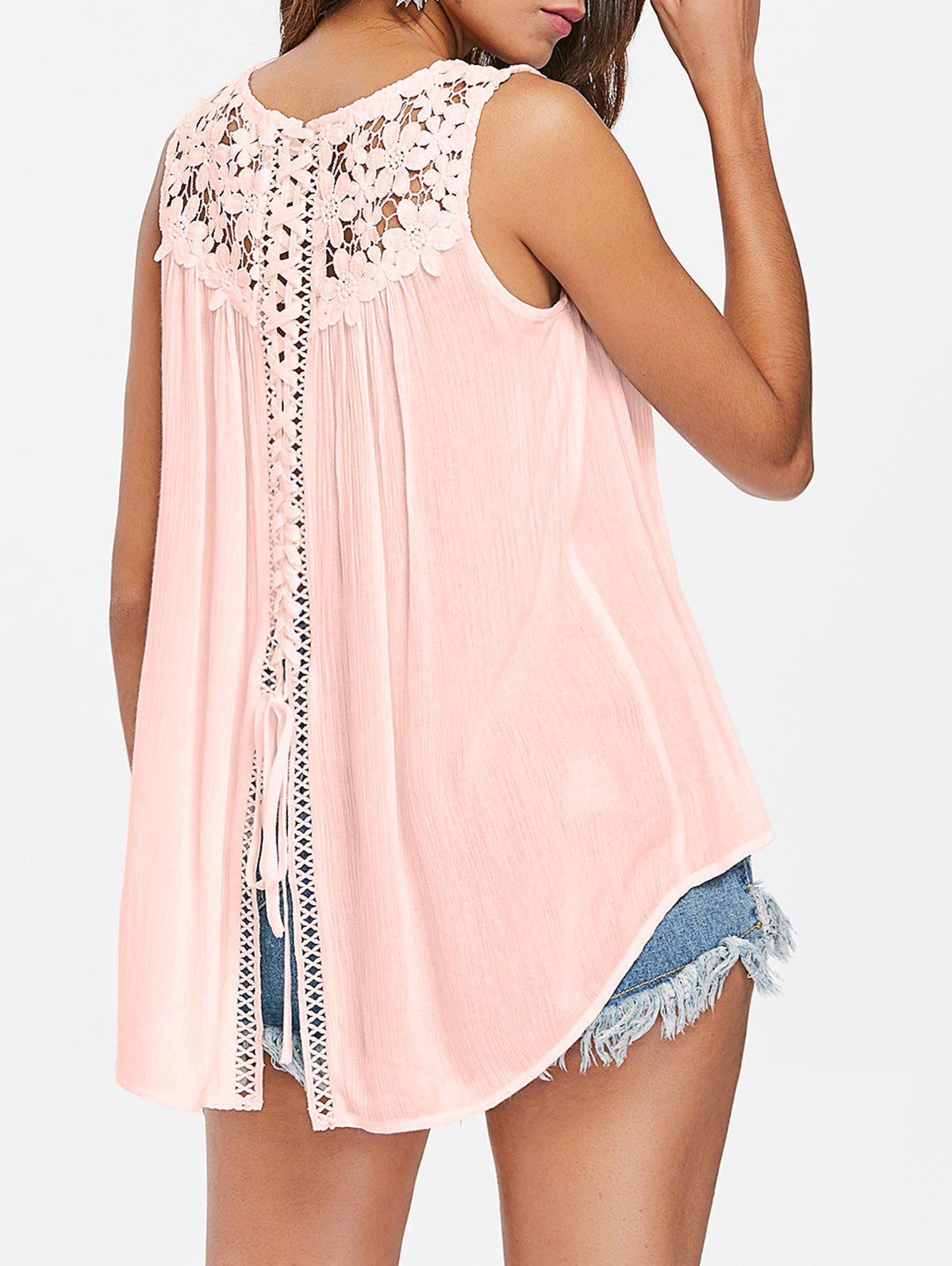 Outfit Back Slit Lace Panel Tank Top