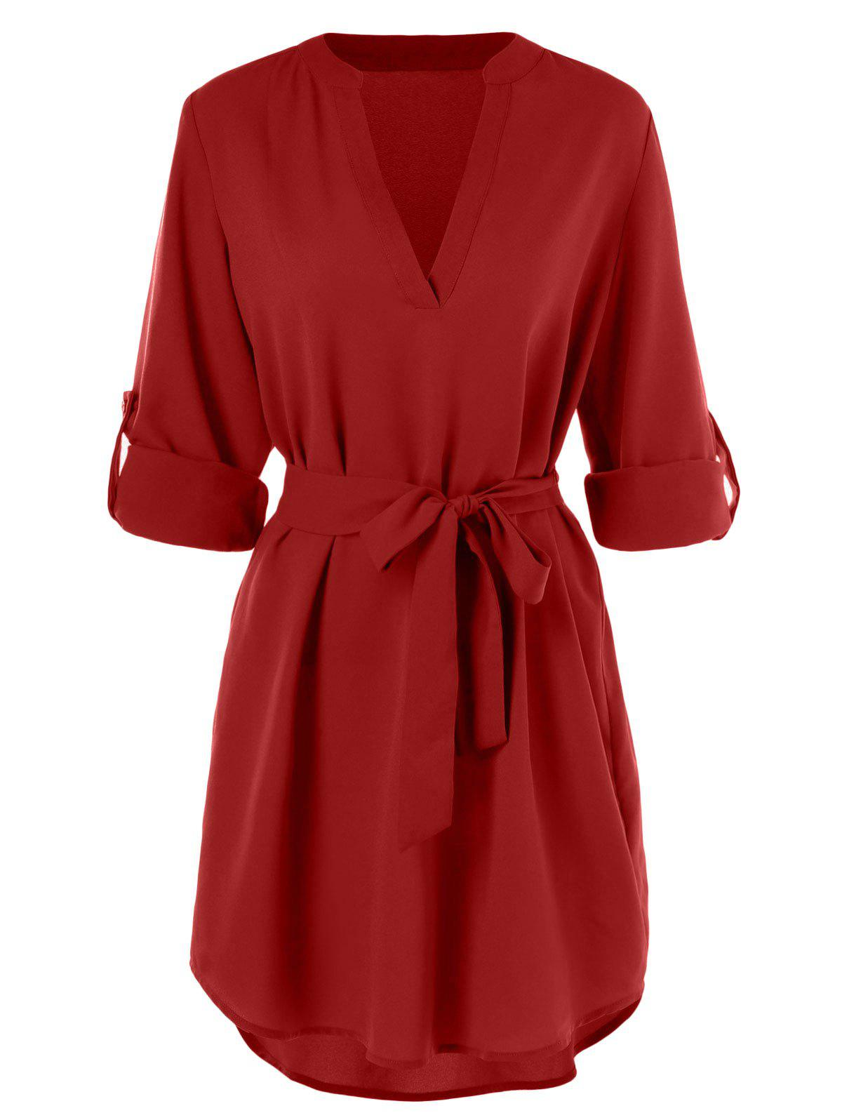 Outfit Belted Long Sleeve Casual Dress
