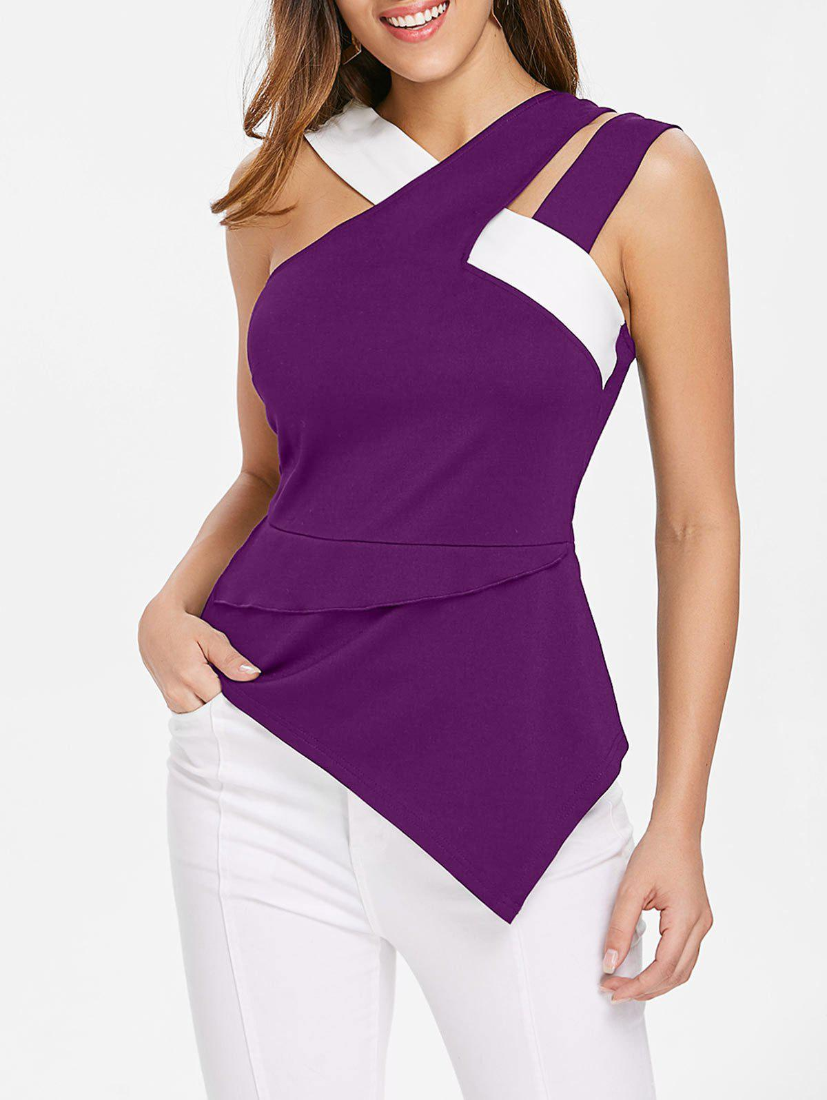 Trendy Back Zip Asymmetrical Tank Top