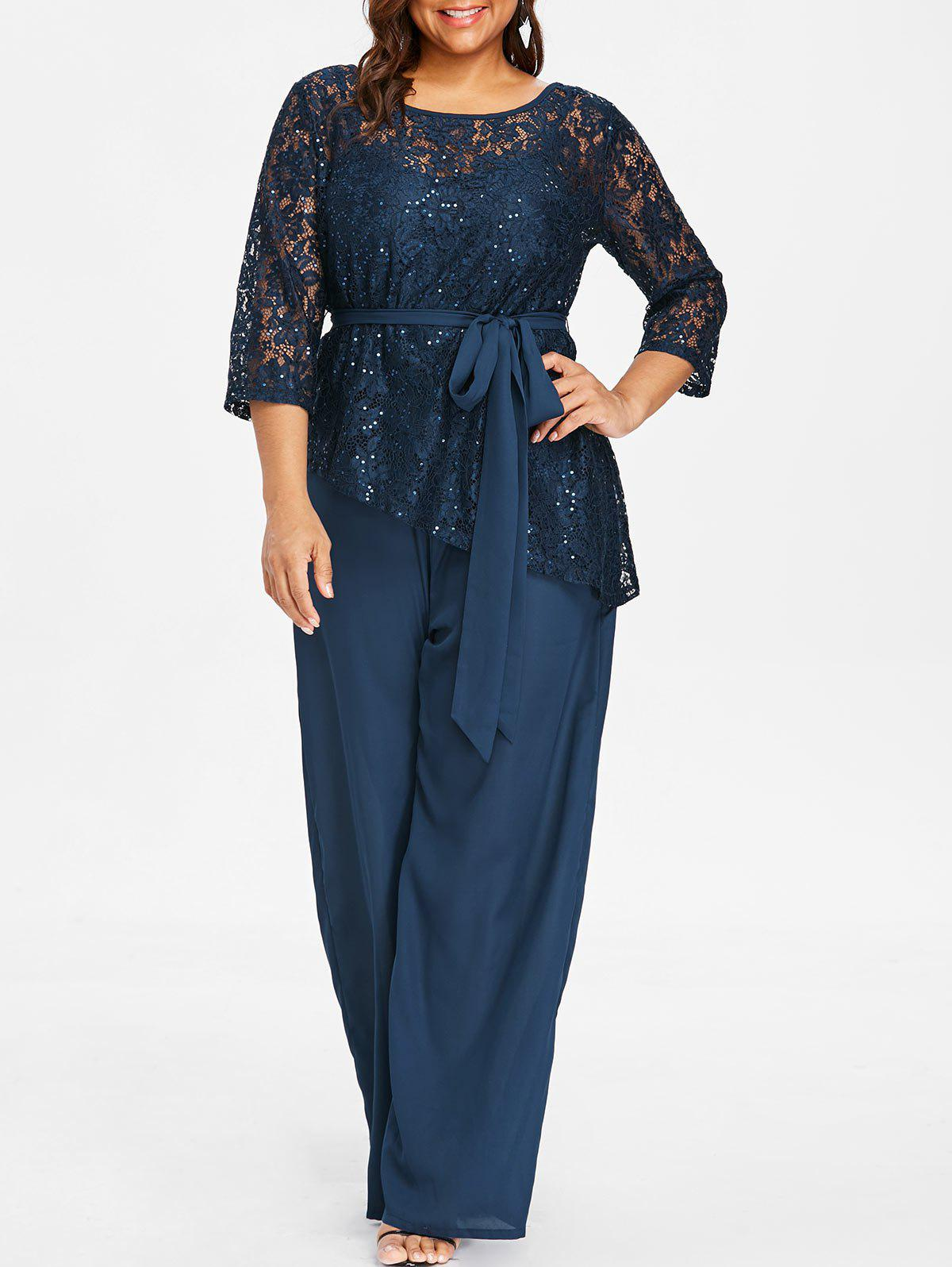 Online Plus Size Palazzo Jumpsuit with Lace Blouse