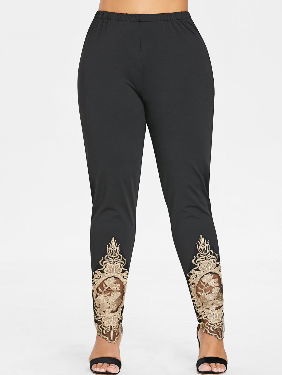 Hot Plus Size Embroidered Hem Leggings