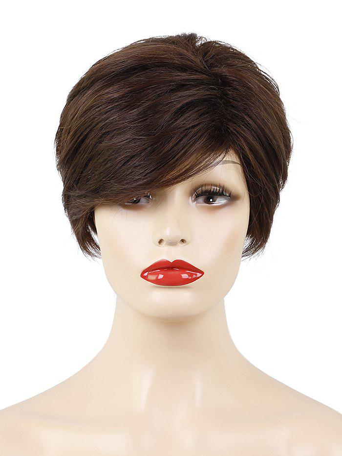 Best Inclined Bang Short Layered Straight Capless Human Hair Wig
