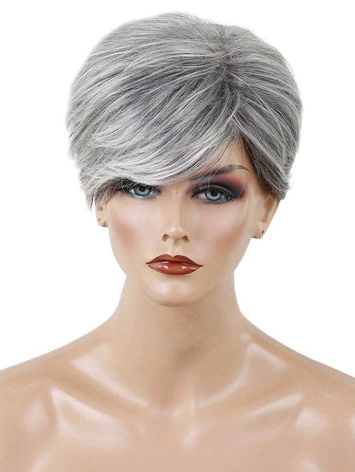 Chic Short Side Bang Colormix Textured Layer Straight Human Hair Wig