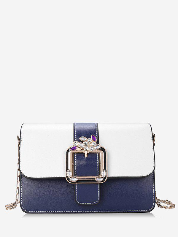 Trendy Contrasting Color Rhinestone Buckled Flap Sling Bag