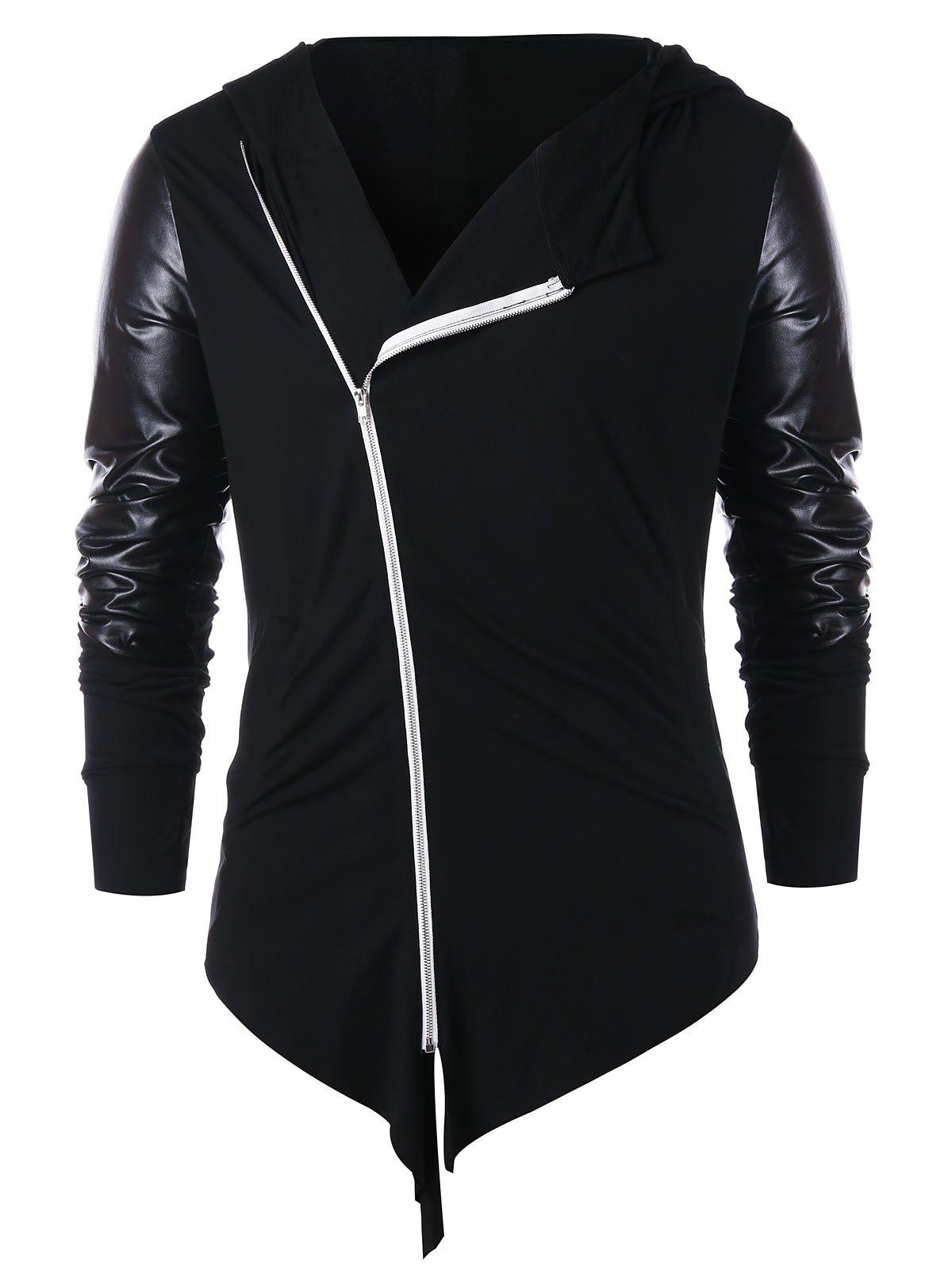 Trendy Zip Embellished Panel Asymmetric Hoodie