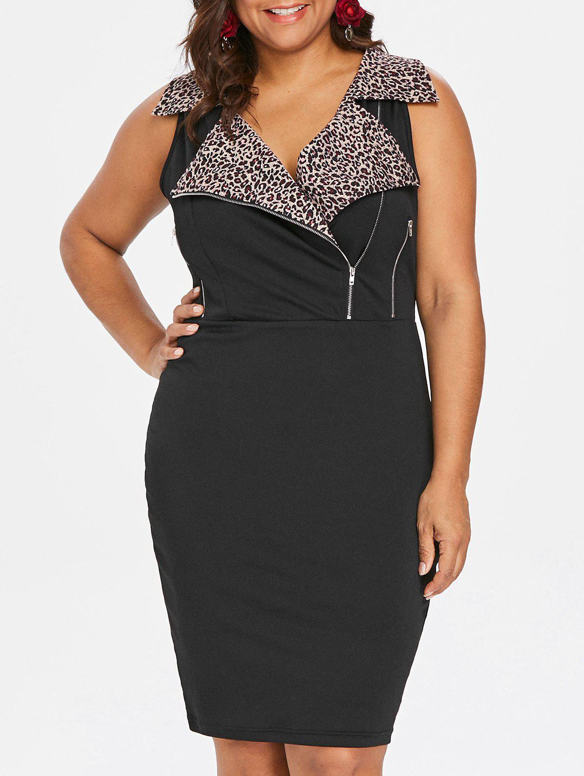 Chic Plus Size Leopard Sleeveless Sheath Dress