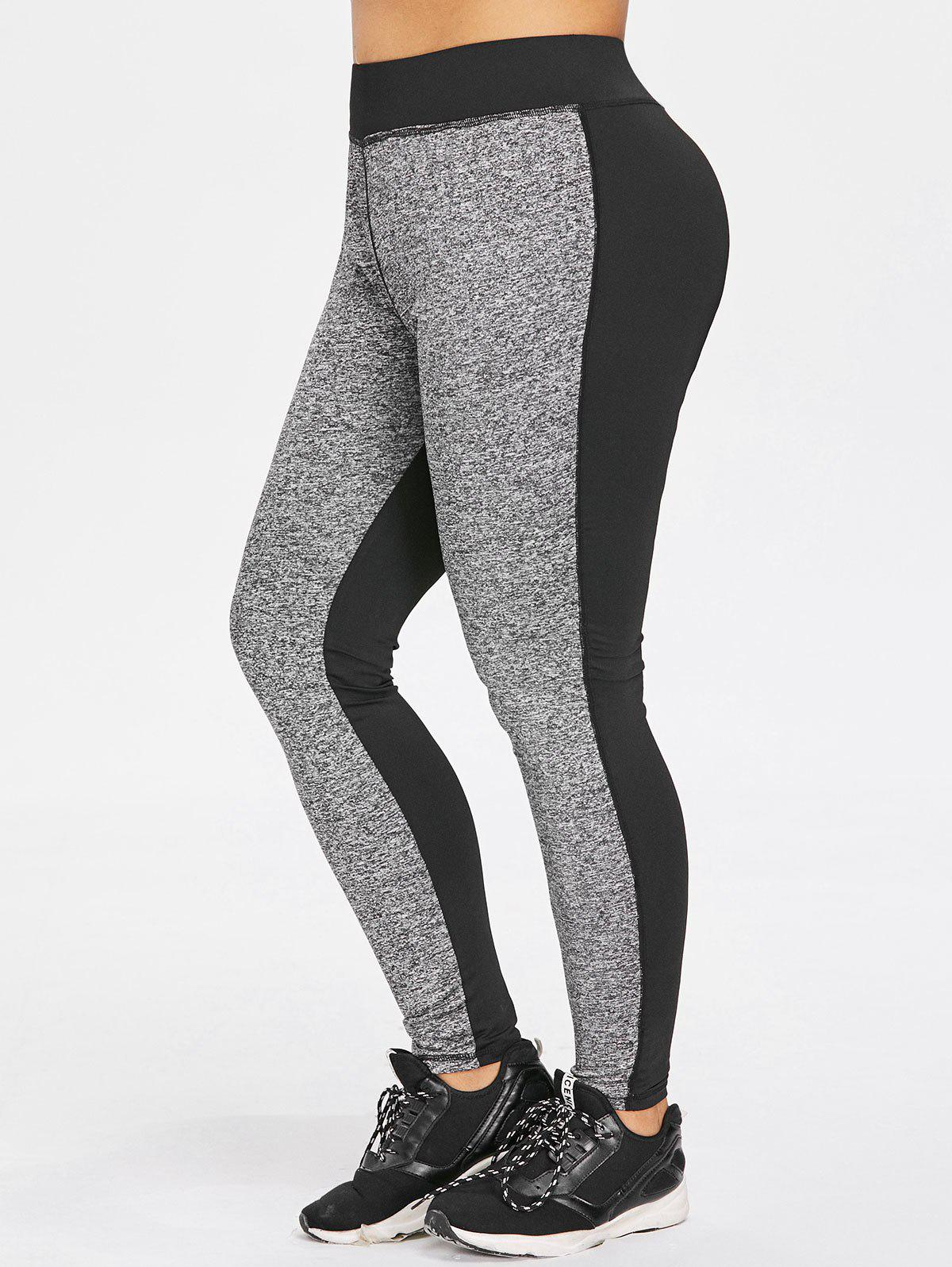 Trendy Plus Size Marled High Waisted Gym Leggings