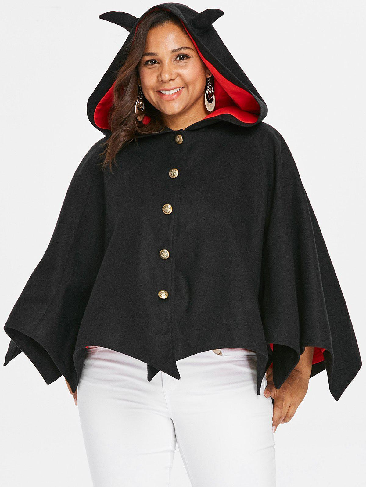 Unique Halloween Plus Size Button Up Hooded Batwing Coat
