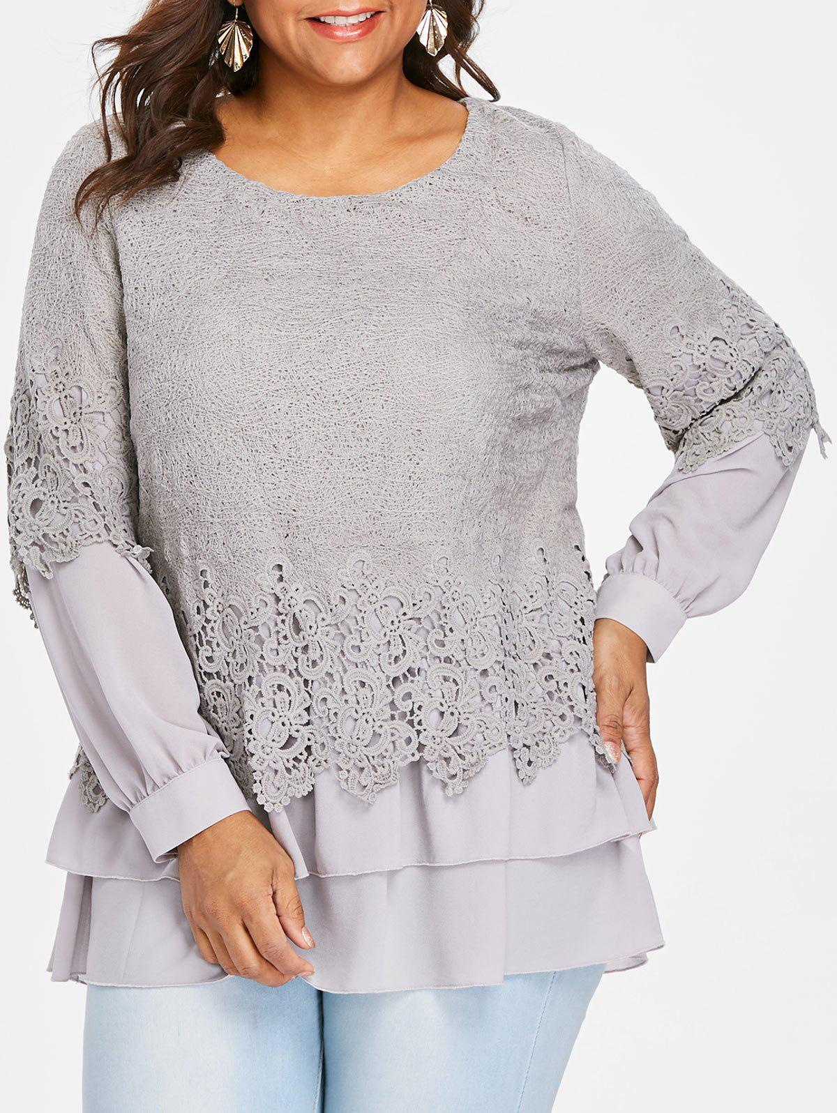 Outfit Plus Size Lace Trim Layered Blouse