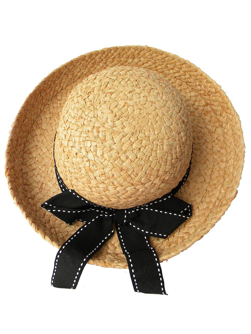 Discount Bowknot Decorated Wide Brim Beach Straw Hat