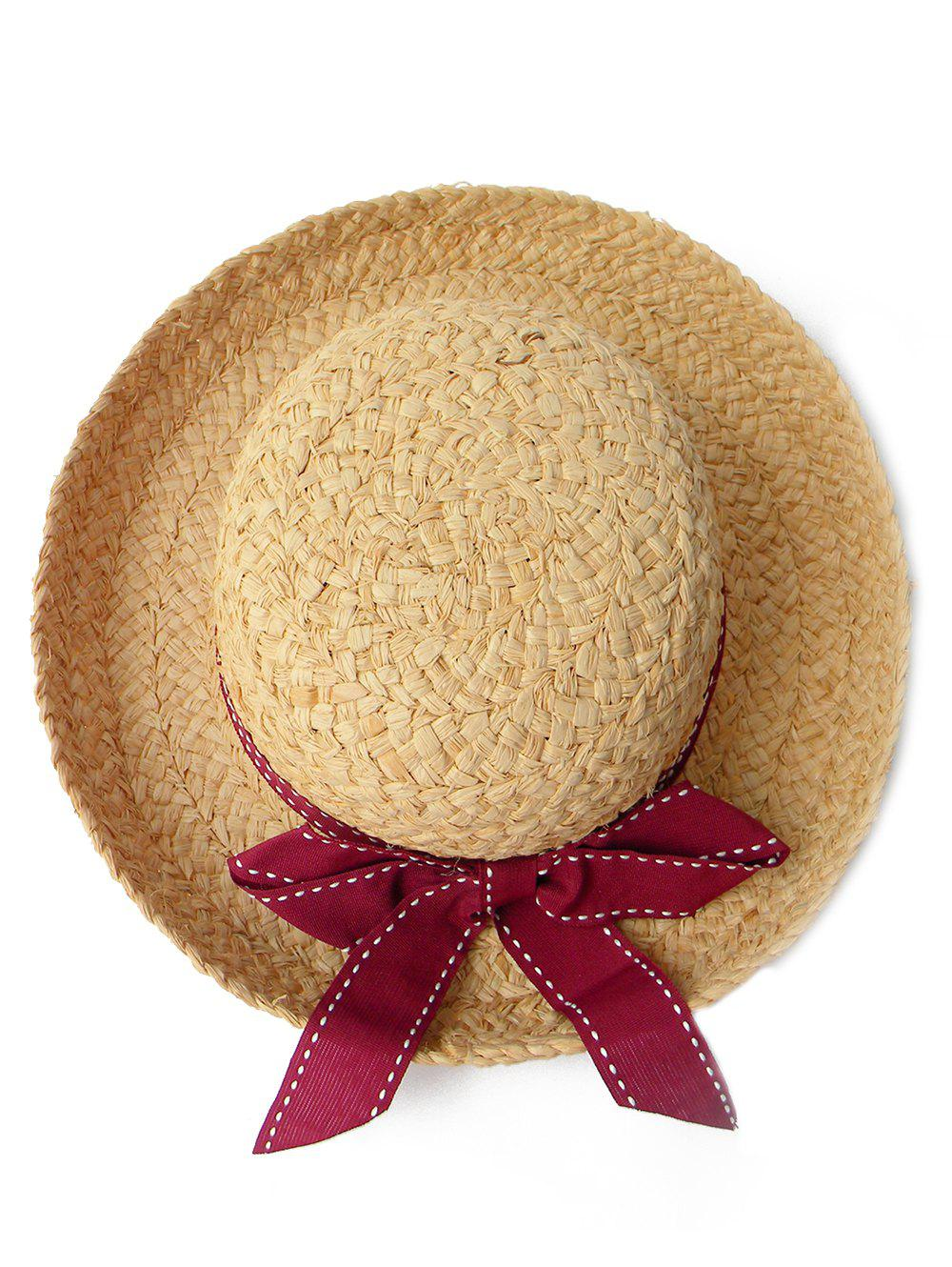 Online Bowknot Decorated Wide Brim Beach Straw Hat