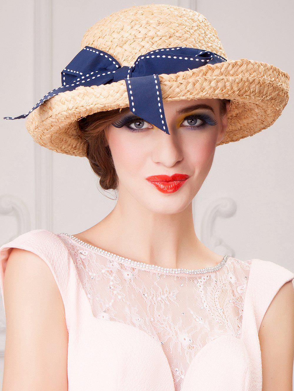 Sale Bowknot Decorated Wide Brim Beach Straw Hat