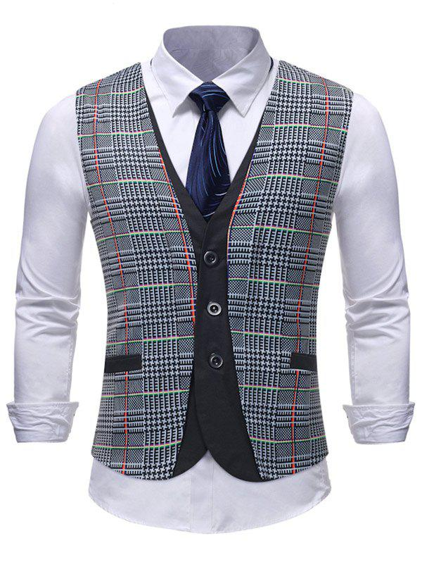 Fancy Check Pattern Adjustable Buckle Layered Vest