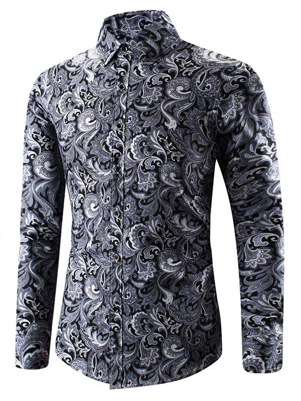 Trendy Ethnic Filigree Print Button Up Shirt