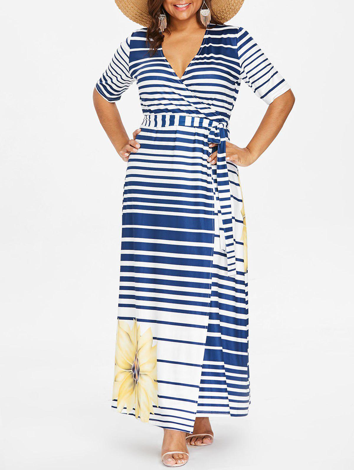 44% OFF] Plus Size Floral Print Striped Maxi Dress | Rosegal
