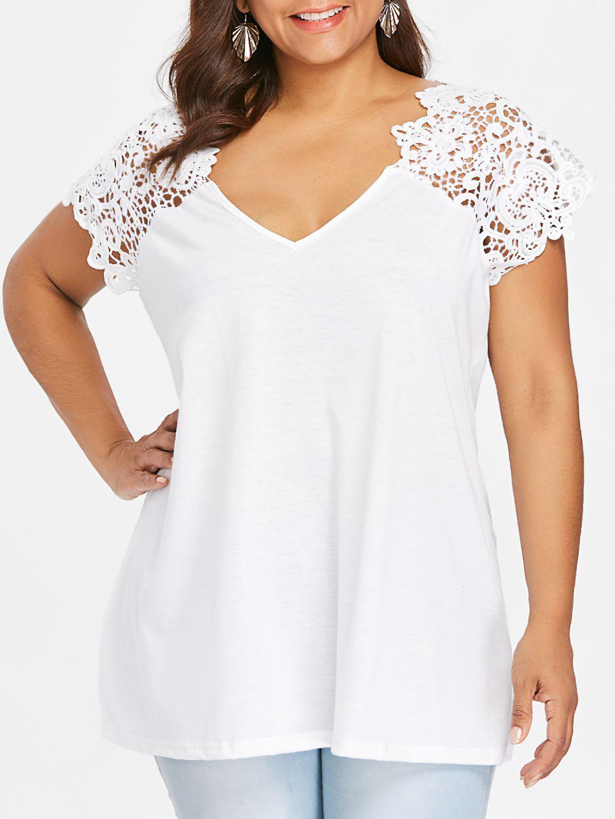 Fancy V Neck Plus Size Lace Trim Cutwork T-Shirt