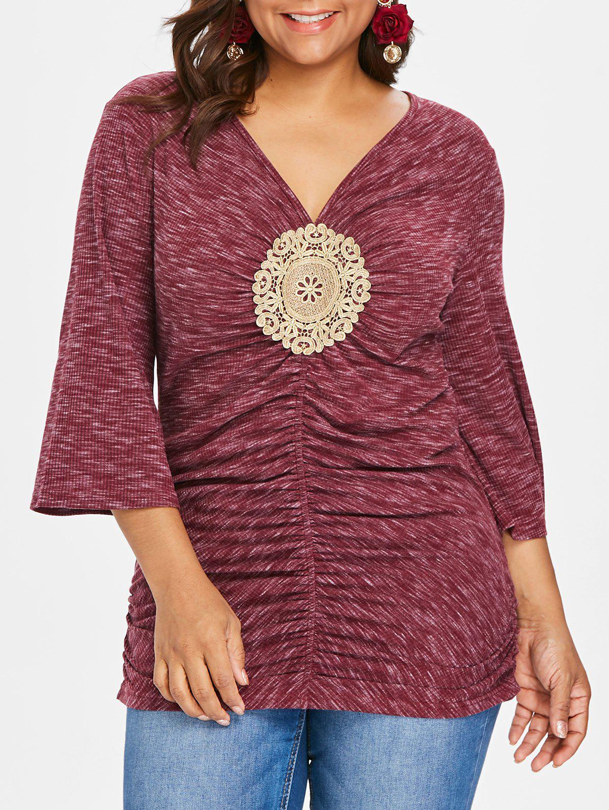 Discount Plus Size Embroidery Applique Shirred T-shirt