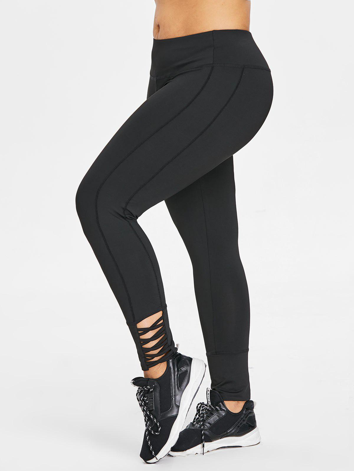 Chic Plus Size Criss Cross Gym Leggings