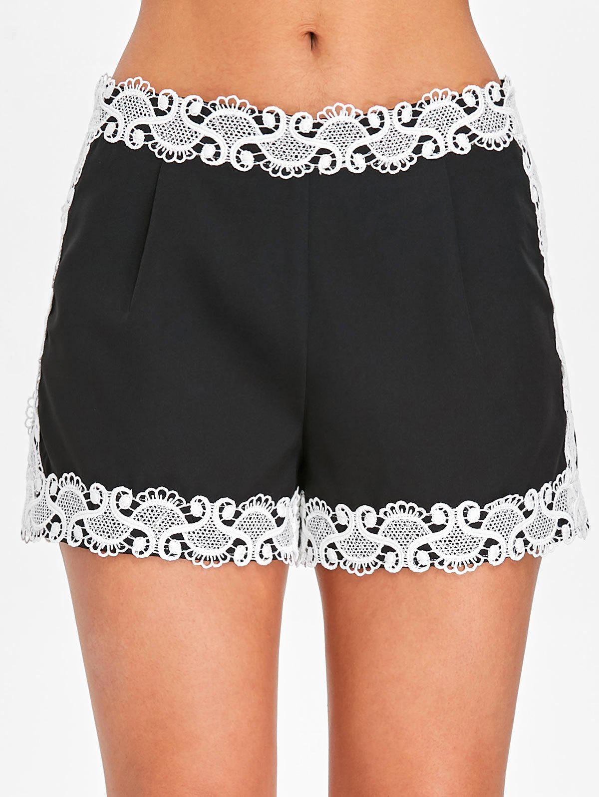 Chic Color Block Lace Panel Shorts