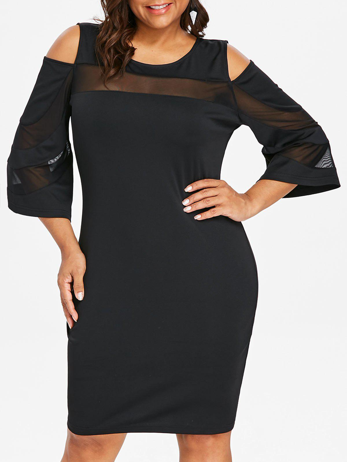 Unique Cold Shoulder Plus Size Mesh Panel Knee Length Dress