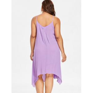 Lace Panel Plus Size Asymmetrical Slip Dress -