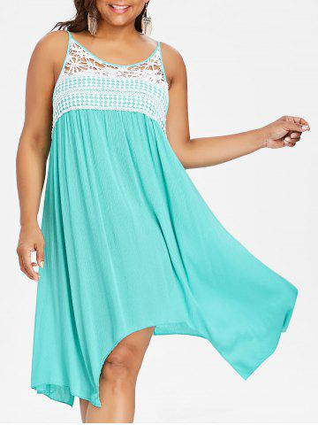 Outfits Lace Panel Plus Size Asymmetrical Slip Dress