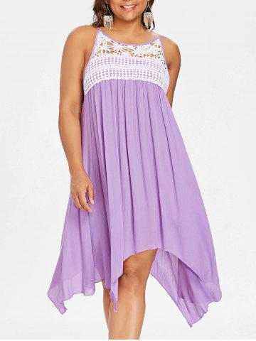 Discount Lace Panel Plus Size Asymmetrical Slip Dress