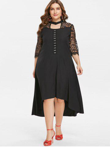 Front Cut Out Skull Lace Insert Plus Size Dress