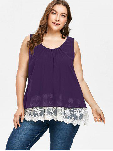 Plus Size Lace Trim Scalloped Tank Top