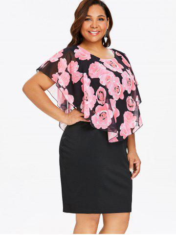 fbaa294b640 Plus Size Rose Overlay Dress - PINK - 3XL