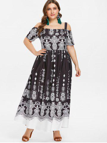 Cold Shoulder Plus Size Ethnic Print Maxi Dress