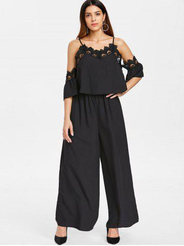 5436ff259824 Spaghetti Strap Cold Shoulder Lace Insert Jumpsuit