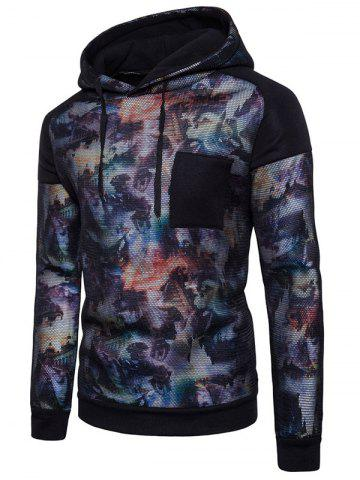 Casual Chest Patch Print Mesh Hoodie