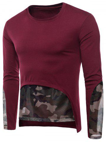 Mesh Camouflage Hem Patchwork Low High T-shirt - LOVE RED - 2XL