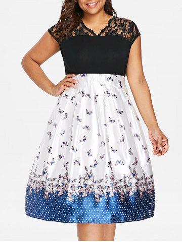 Plus Size Lace Butterflies Fit and Flare Dress - MULTI - L