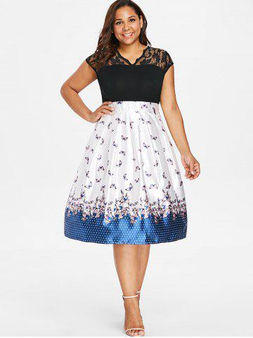 Plus Size Lace Butterflies Fit and Flare Dress