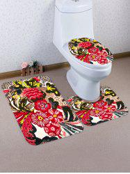 Flower Pattern 3 Pcs Bath Mat Toilet Mat -