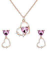 Rhinestone Heart Design Pendant Necklace Earrings Set -