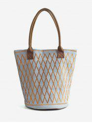 Color Block Canvas All Over Geometric Tote Bag -