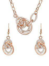 Rhinestone Rounds Pendant Necklace with Earrings -