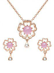 Hollow Flower Rhinestone Pendant Necklace with Earrings -