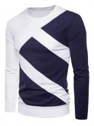 Long Sleeve Contrast Color Splicing T-shirt -