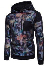 Casual Chest Patch Print Mesh Hoodie -