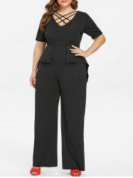 Plus Size Criss Cross Peplum Jumpsuit -