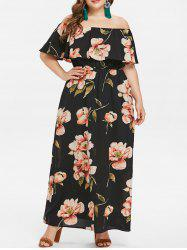 Plus Size Off Shoulder Flounce Maxi Dress -