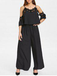 Spaghetti Strap Cold Shoulder Lace Insert Jumpsuit -