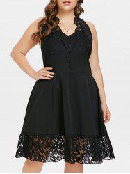 Open Back Plus Size Lace Panel A Line Dress -